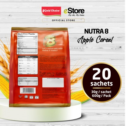 GOLD CHOICE NUTRA 8 Cereal With Apple - (30g X 20'S) X 3 Packs In Bundle