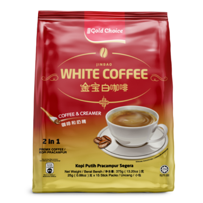 GOLD CHOICE JINBAO White Coffee Unsweetened - (25g X 15'S) X 3 Packs In Bundle [No Sugar]