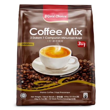 GOLD CHOICE 3-IN-1 Coffee Mix - (20g X 30'S) X 3 Packs In Bundle [Classic]