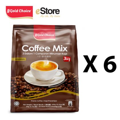 GOLD CHOICE 3-IN-1 Coffee Mix - (20g X 30'S) X 6 Packs In Bundle [Classic]