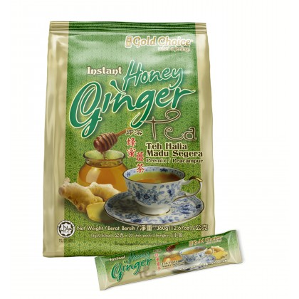 GOLD CHOICE Instant Honey Ginger Tea - (18g X 20'S) X 3 Packs In Bundle