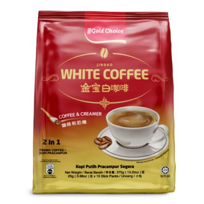 GOLD CHOICE JINBAO White Coffee Unsweetened - (25g X 15'S) X 6 Packs In Bundle [No Sugar]