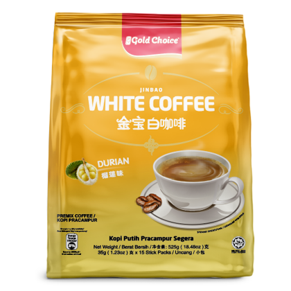 GOLD CHOICE JINBAO White Coffee With Durian - (35g X 15'S) X 6 Packs In Bundle