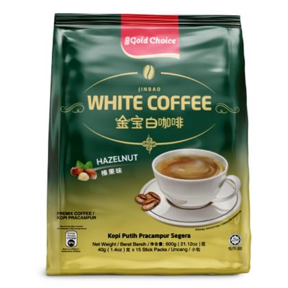 GOLD CHOICE JINBAO White Coffee With Hazelnut - (40g X 15'S) X 6 Packs In Bundle