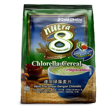 GOLD CHOICE NUTRA 8 Chlorella Cereal - (35g X 15'S) X 6 Packs In Bundle