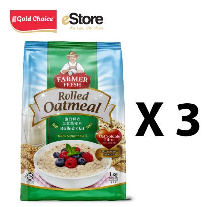 FARMER FRESH Oatmeal Rolled Oats - 1kg X 3 Packs [Oat]