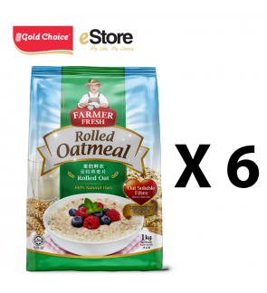 FARMER FRESH Oatmeal Rolled Oats - 1kg X 6 Packs